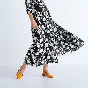 NWT Zara Size 6 Pointy Wood Heel Flats